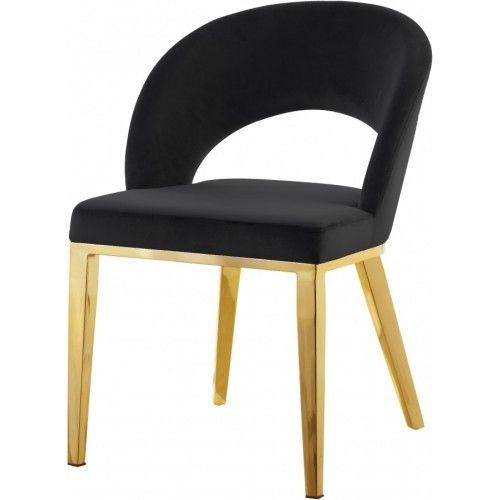 Best Black Velvet Modern Rounded Back Accent Dining Chair Gold 400 x 300