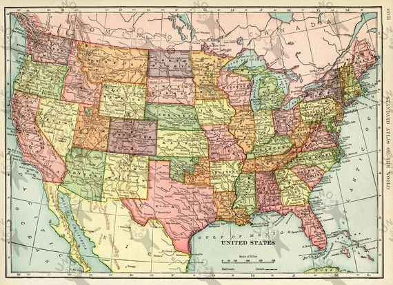 Vintage map of USA 1906 Instant Download image printable picture for ...
