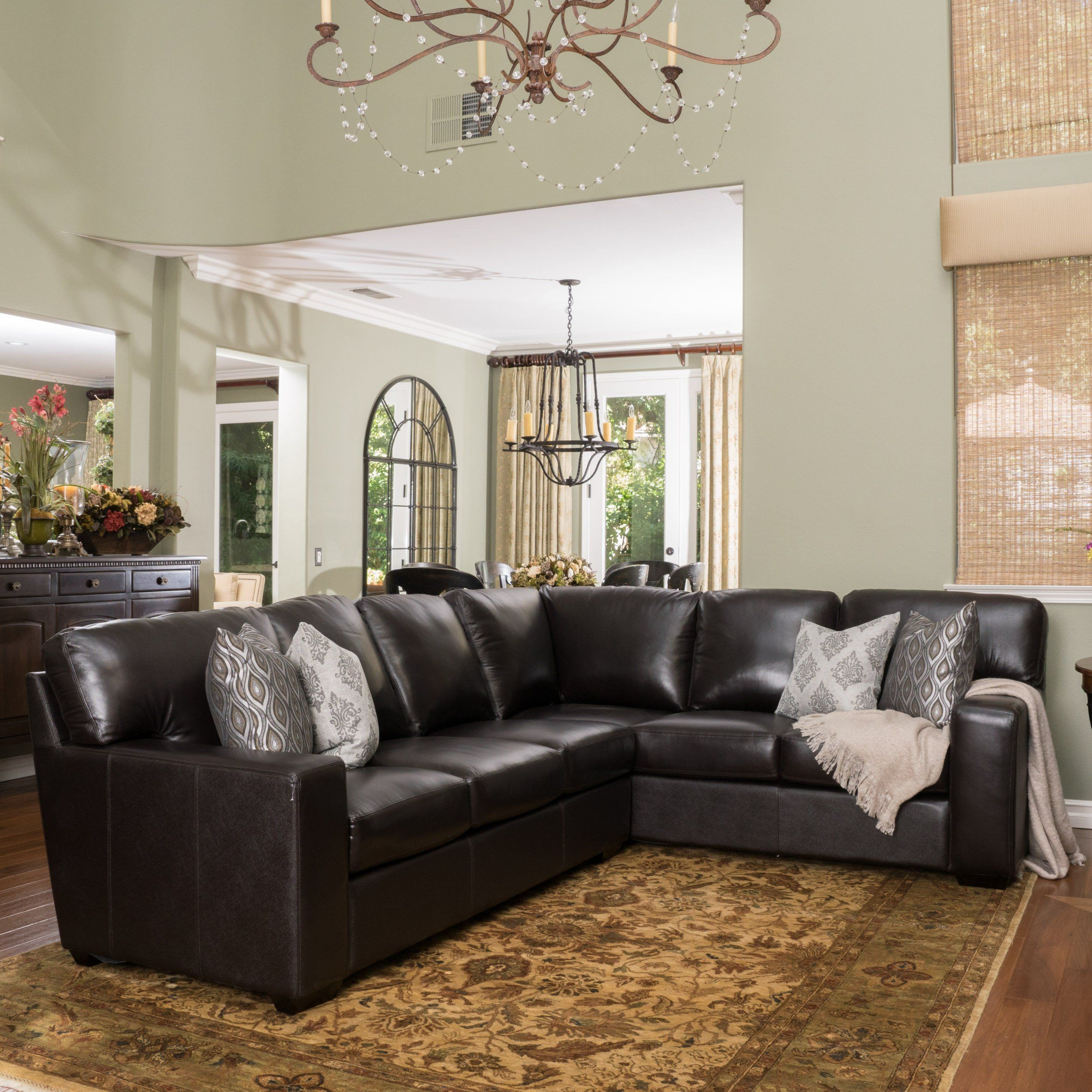 Vanessa Top Grain L Shaped Leather Sectional Leather Couches Living Room Transitional Living Room Design Couches Living Room