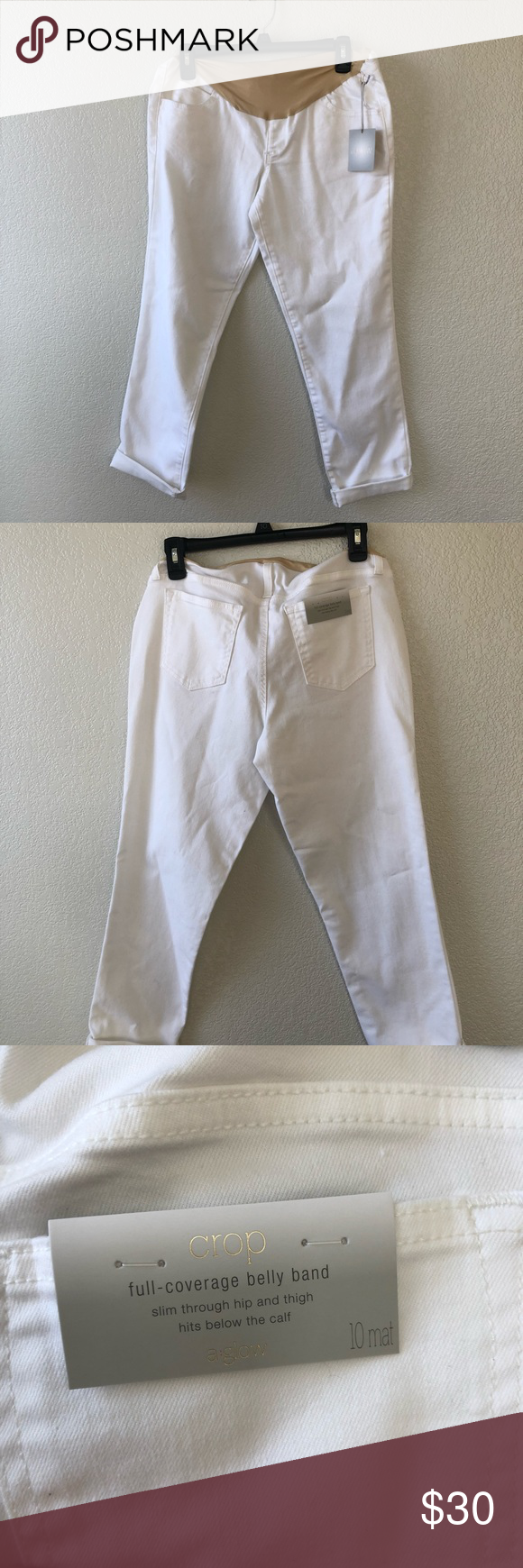 53aa3ad497fc6 a : glow Maternity Pants NWT a : glow Full Panel Maternity Pants Cropped White  Size 10 a : glow Pants Ankle & Cropped