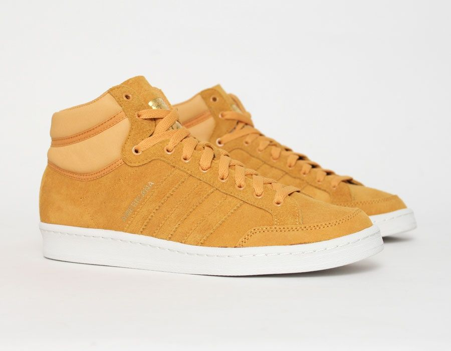 new product 76101 dde6d  adidas Americana HI 88 Yellow Suede Leather  Sneakers