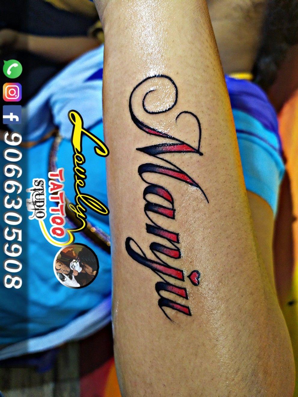 Manju Name Tattoo Manju Tattoo Font Design Call For Appointment 9066305908 Yelahanka Name Tattoo Tattoo Studio Tattoos