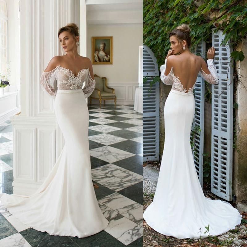 Julie Vino 2015 Bridal Wedding Dresses Vintage Sheer Off The Shoulder Lace Poet Sleeves Appliques Bodice Low Back Fitted Gowns Cheap Online