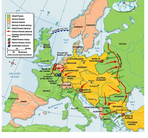 This is an illustration of the major battles of WWI. Shown on this ...