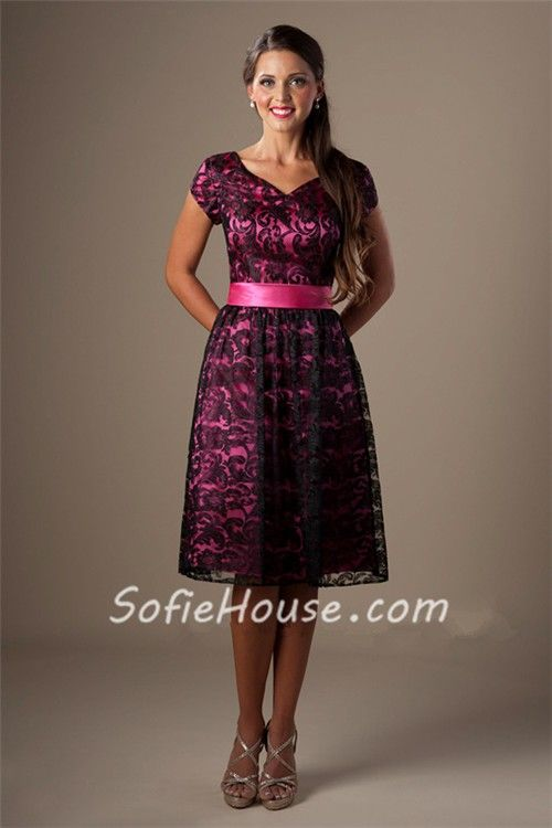 627aec04fa A Line Sweetheart Short Sleeve Hot Pink Satin Black Lace Modest Bridesmaid  Dress