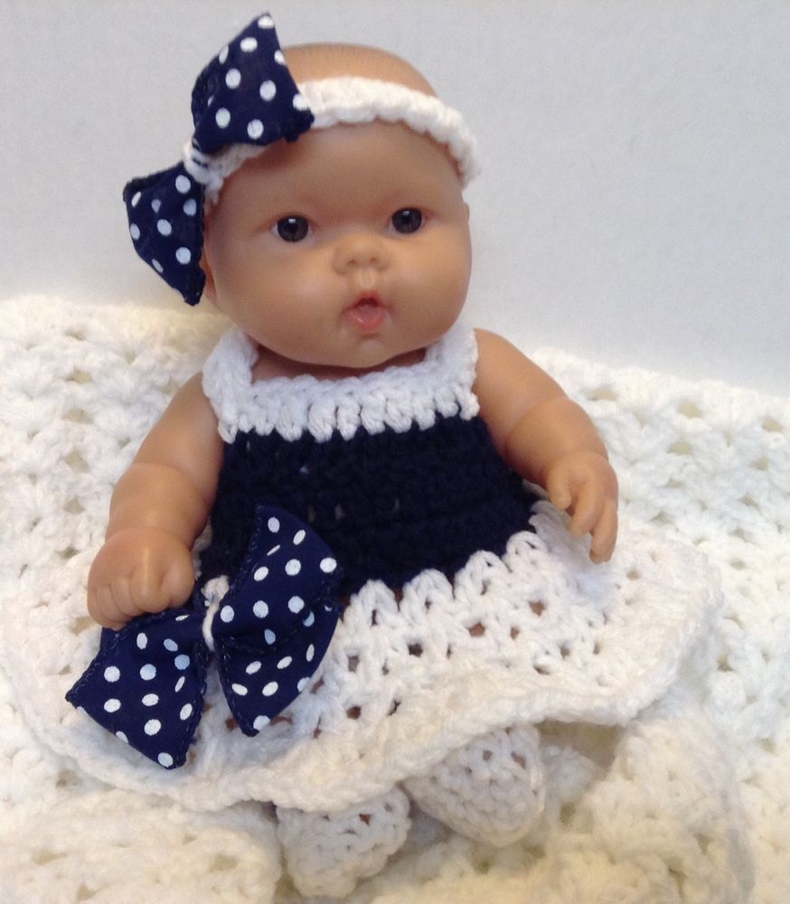 10 Inch Doll Clothes Fits Berenguer Reborn Dolls Handmade Dress Set Navy Blue Baby Projects Doll Clothes Dolls