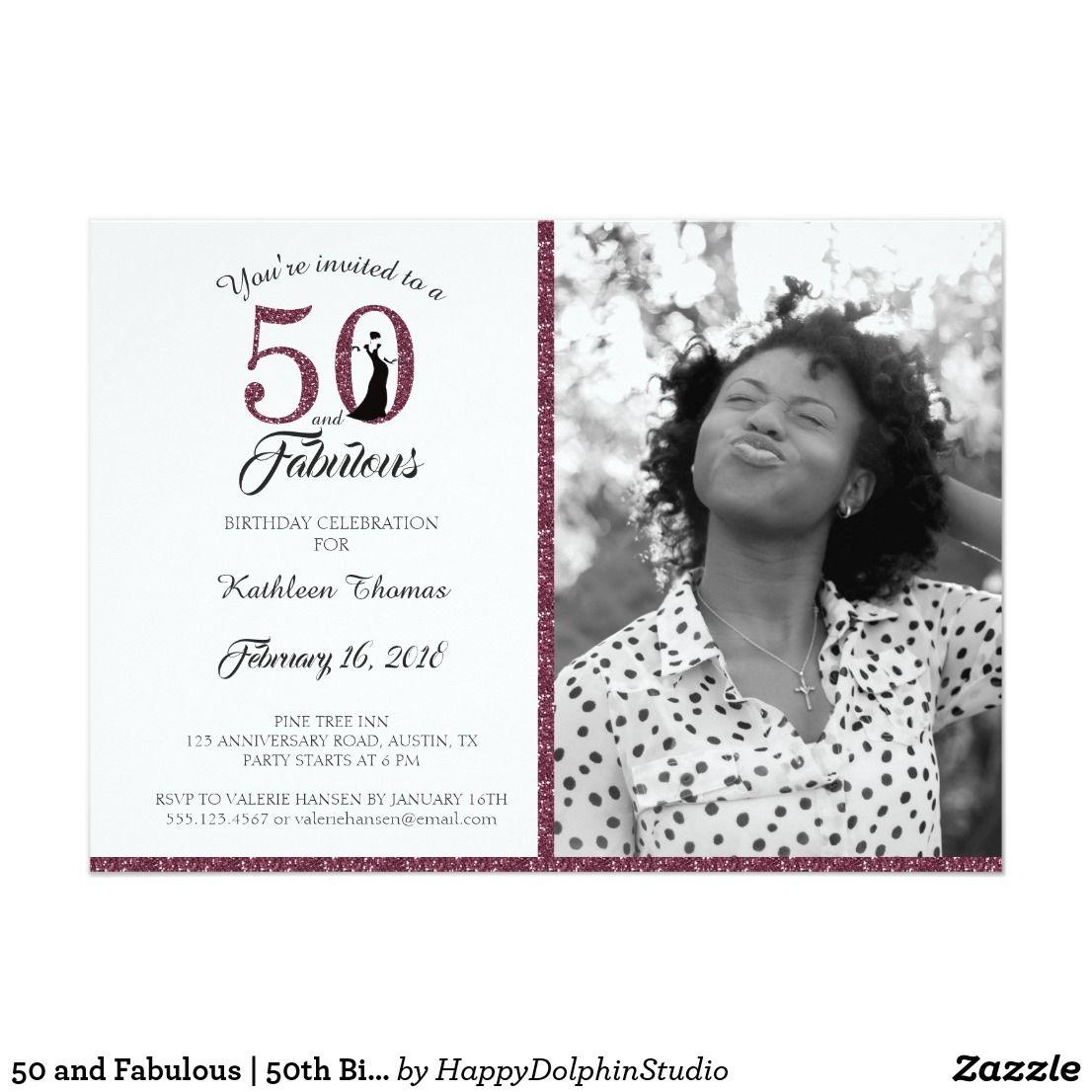 50 and Fabulous | 50th Birthday Party Invitation | 50th birthday ...