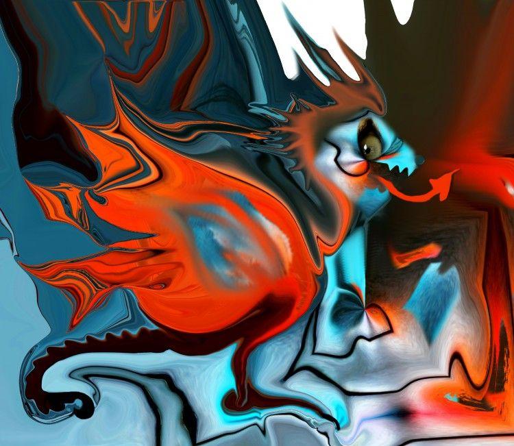 DRAGON (Painting) przez Catherine WERNETTE Dragon - création numérique