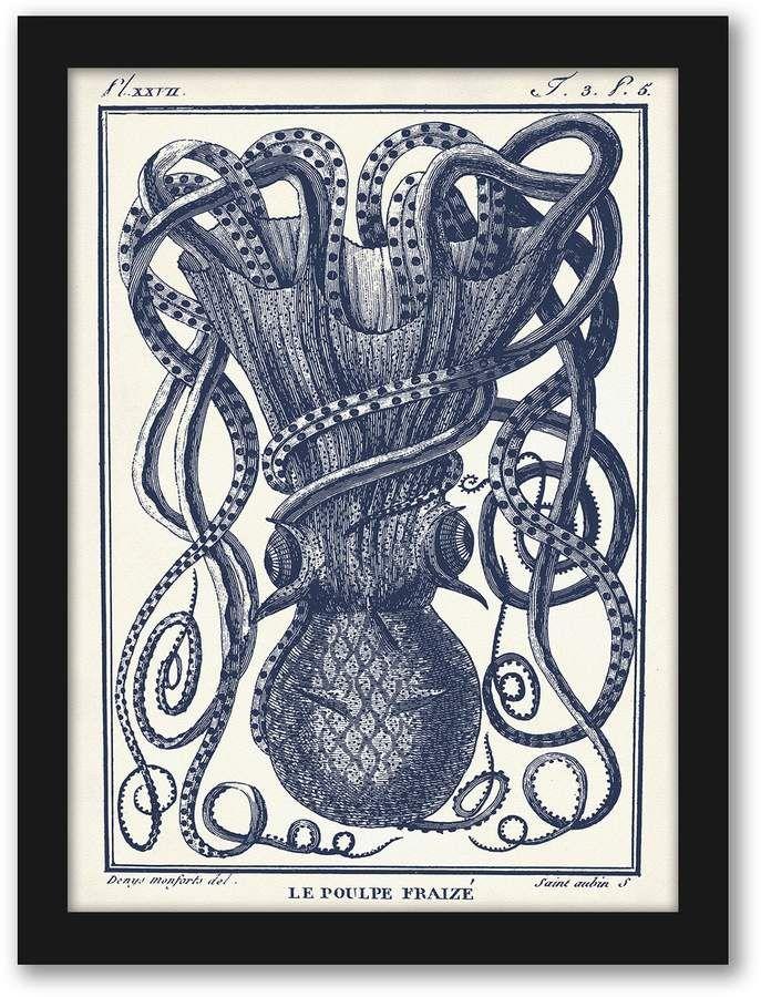 Americanflat Tangles Tentacles Framed Wall Art Octopus Art Print Octopus Art Nautical Art