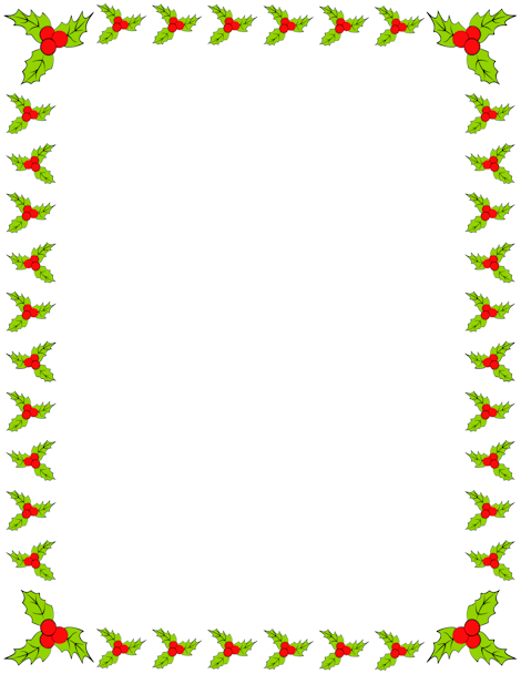 Holly Border Clip Art Page Border And Vector Graphics Clip Art Borders Borders For Paper Printable Stationery