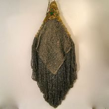 Vintage Beaded Purse with Jeweled Trinity Plate Frame Green Stones