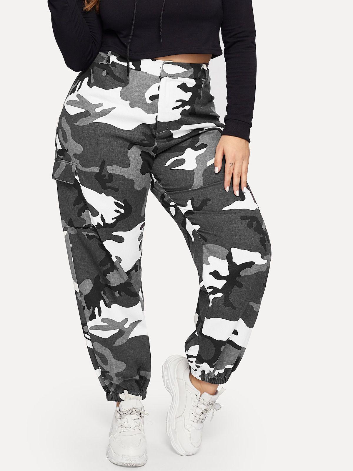 Pantalones Conicos De Camuflaje Con Bolsillo Lateral Grande Romwe Pantalones Camuflaje Mujer Pantalones Camuflados Mujer Ropa De Camuflaje