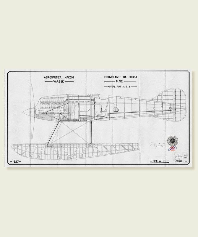 Macchi M39 - B/W Construction plan - scale 1:5 Print on draft ...