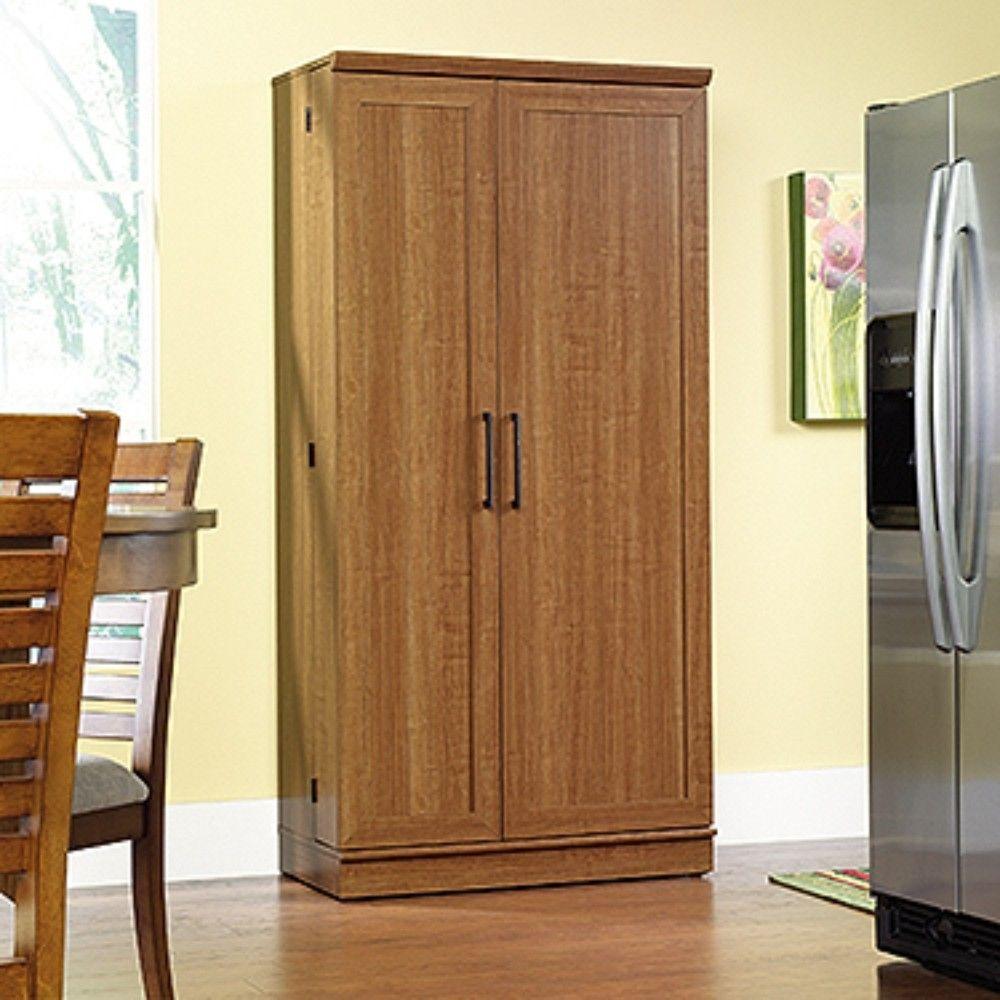 Homeplus Storage Cabinet In Sienna Oak Sauder 411965 In 2020 Storage Cabinet Sauder Storage Cabinet Storage Cabinets