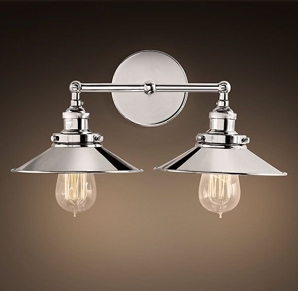 Ordinaire Guest Bathroom Over Mirror Light Fixture Restoration Hardware: Metal  Filament Sconce Double Polished Nickel $170