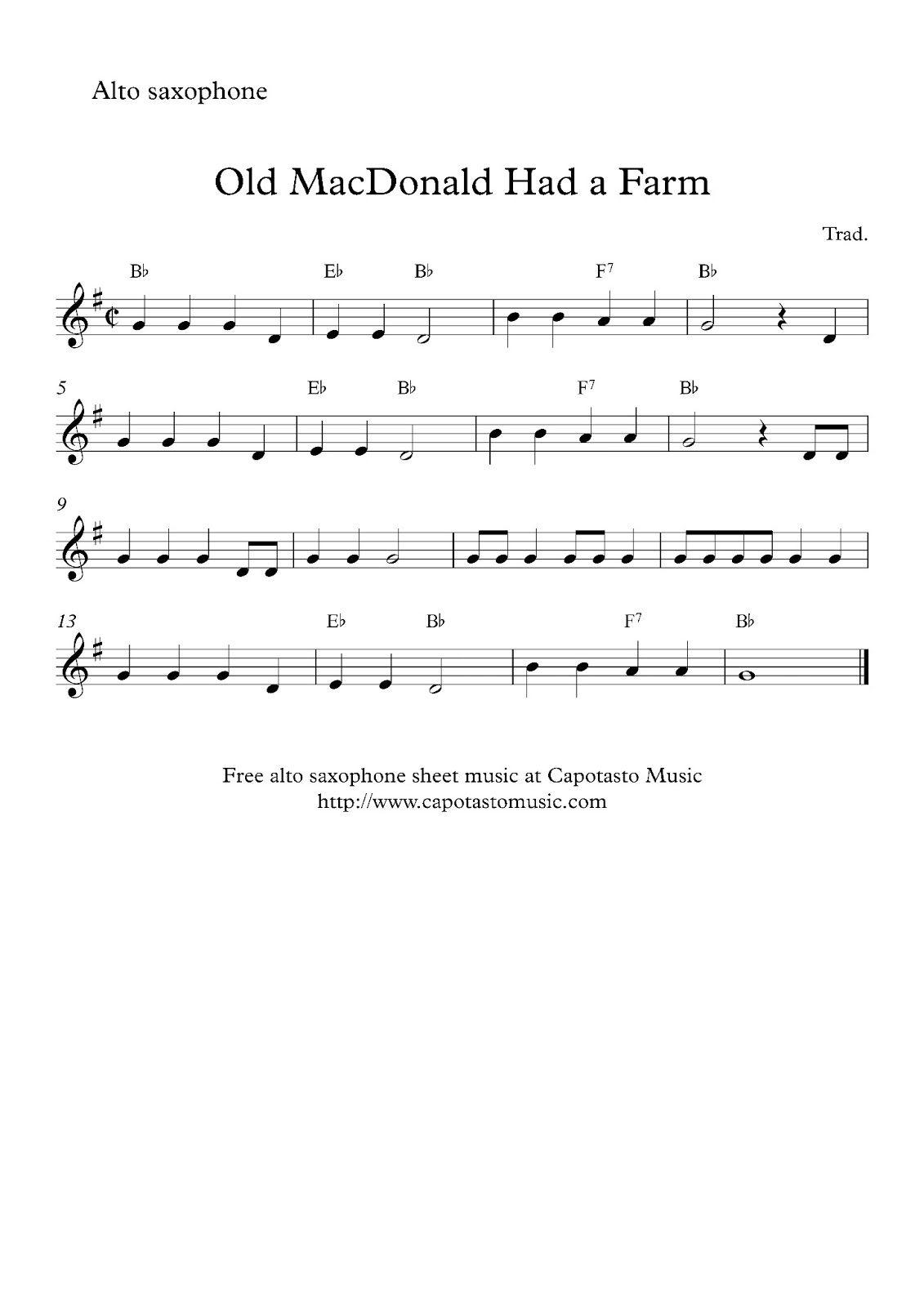 Alto Sax Easy Songs