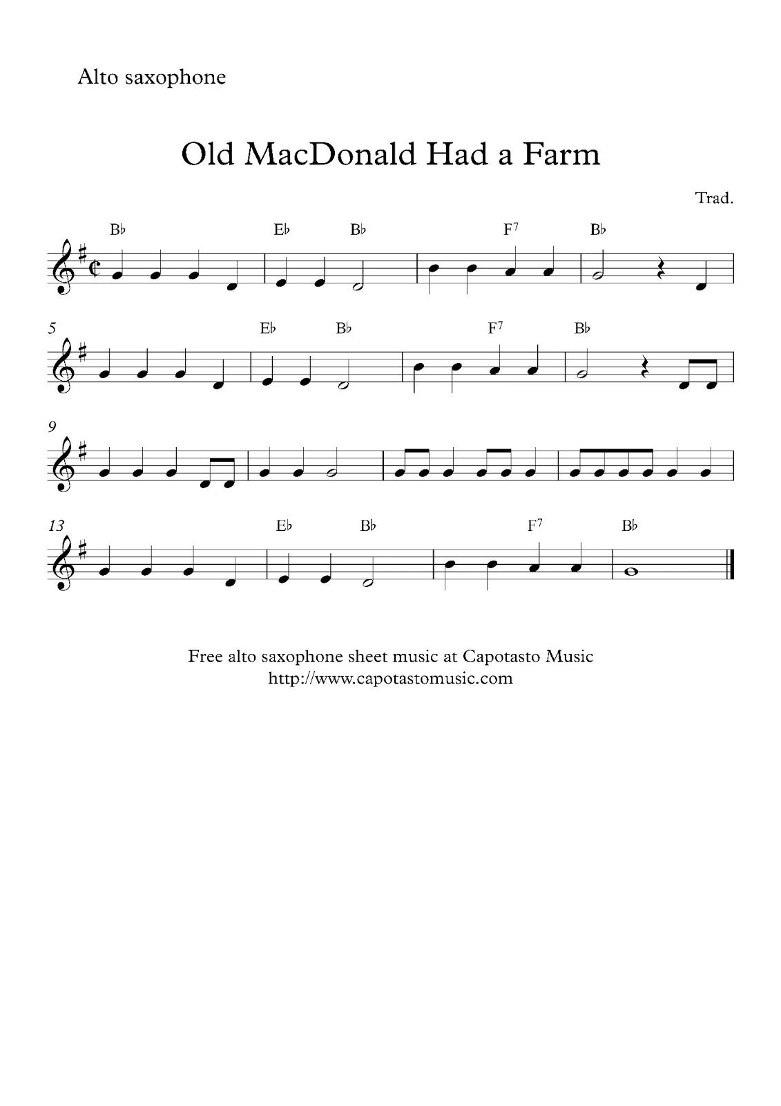 Alto Sax Easy Songs Free Sheet Music Scores Free easy