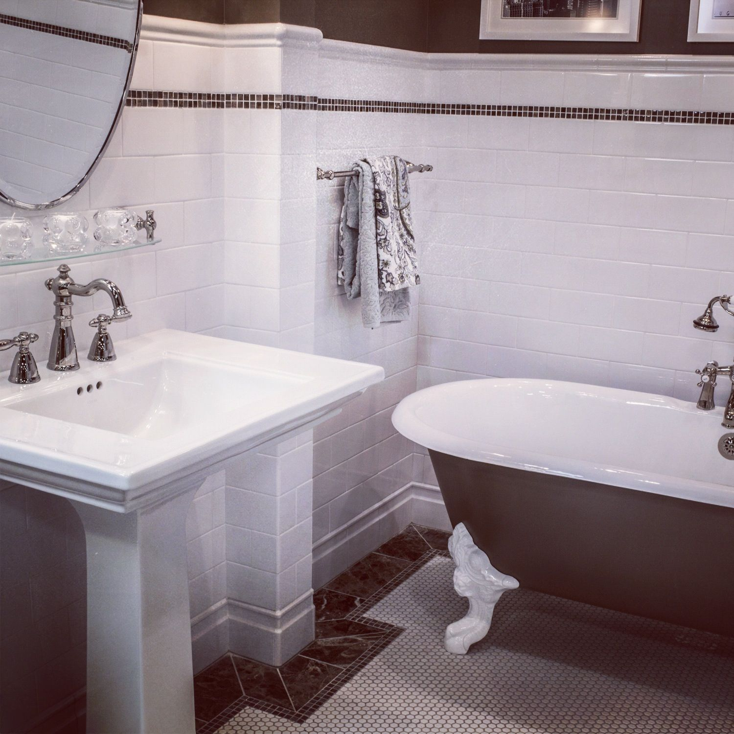 Traditional white subway tile is a bathroom design classic ...