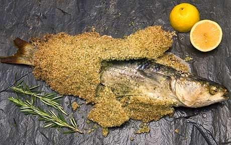 Fish recipes fish baked in rosemary scented salt baked for Baked fish in foil