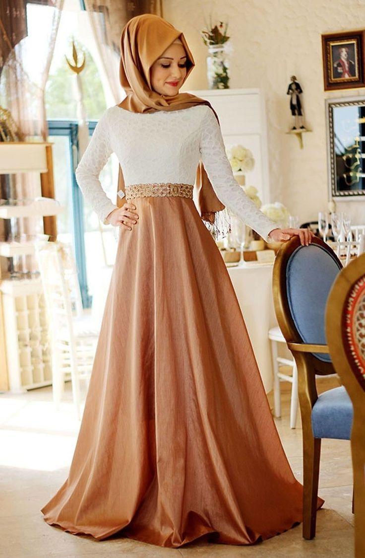Champagne & Fuchsia Lange Muslimische Abendkleid Hijab 12 Perlen