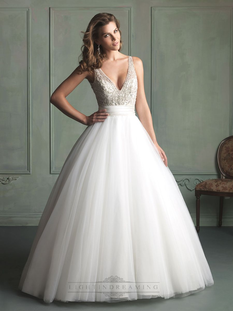 Deep V Neck And Back Beaded Bodice Ball Gown Wedding Dress