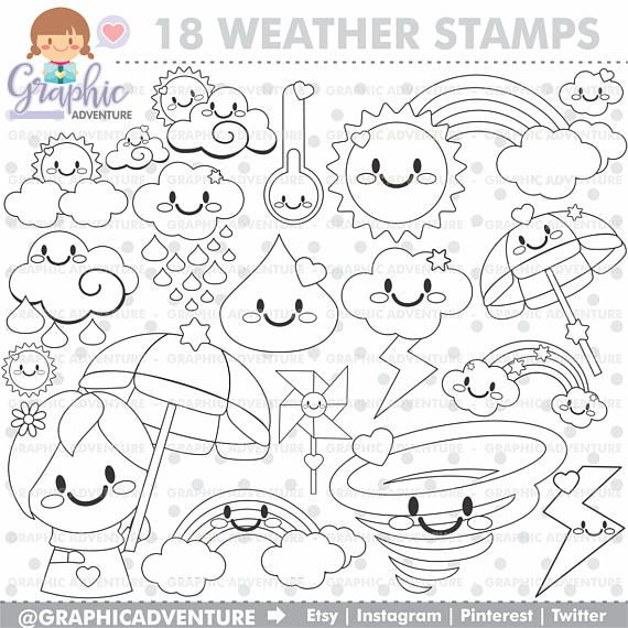 Weather Stamps Rainbow Stamps Sun Stamps Commercial Use Etsy Digi Stamp Art Drawings For Kids Free Coloring Pages