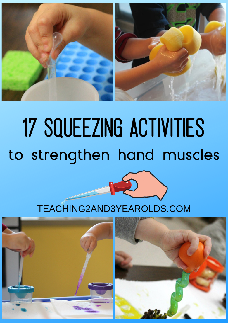 Our favorite collection of preschool fine motor activities! Each one involves some sort of squeezing that strengthens the hands and fingers, getting them ready for writing. A free fine motor checklist is included for you to download today! #finemotor #printable #writing #skills #prewriting #preschool #age3 #age4 #motorskills #teaching2and3yearolds