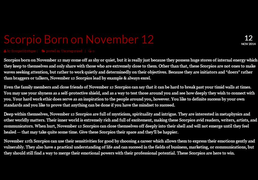 Born on November 12th Horoscope: Lucky Numbers, Days, Colors, Birthstones, Tarot Card..