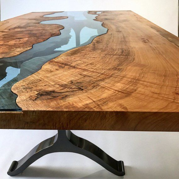 River Table Live Edge Table Glass Table Wood Table