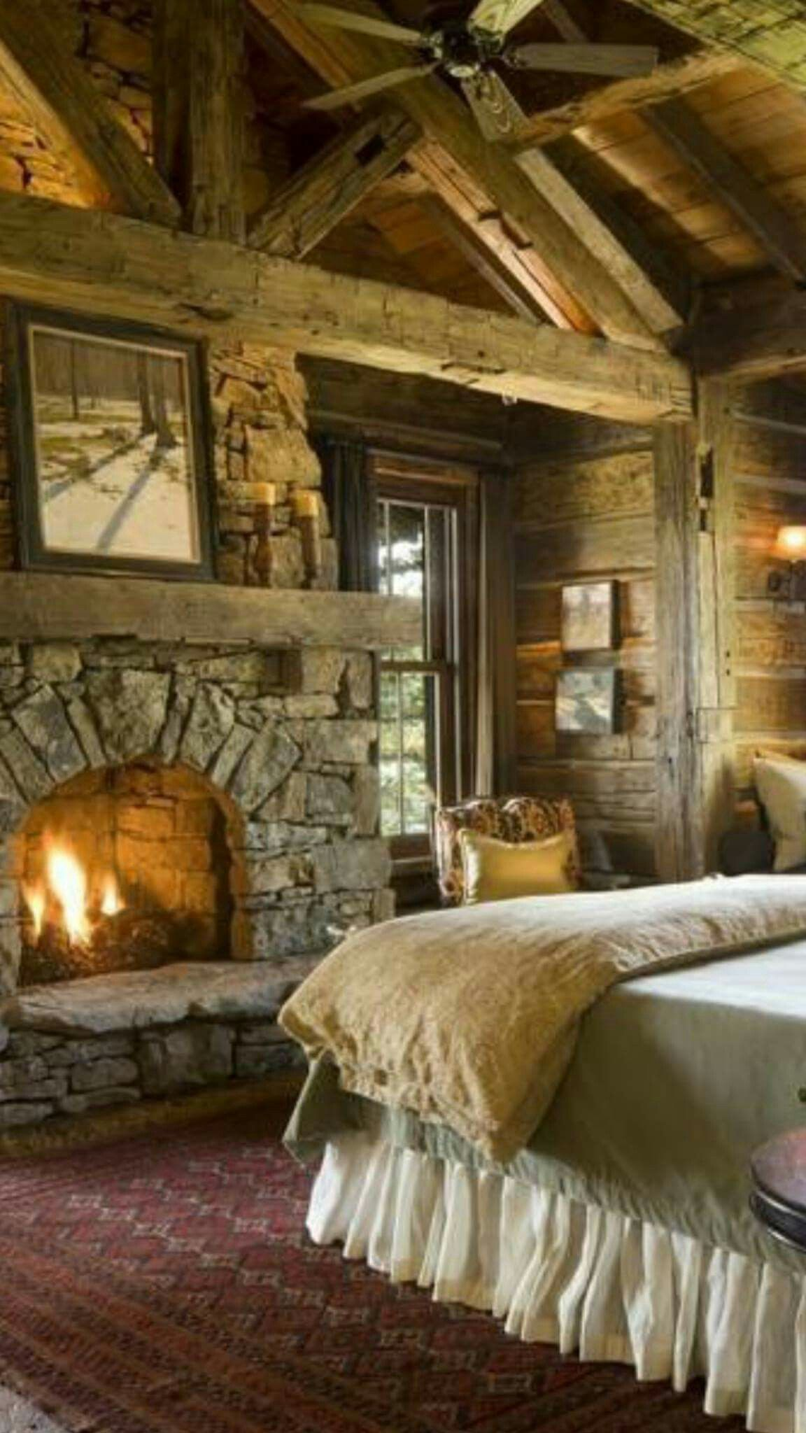 Log Cabin Bedroom With A Fireplace.This Will Be My Room When I Build My Log  Cabin On My Property In Windham