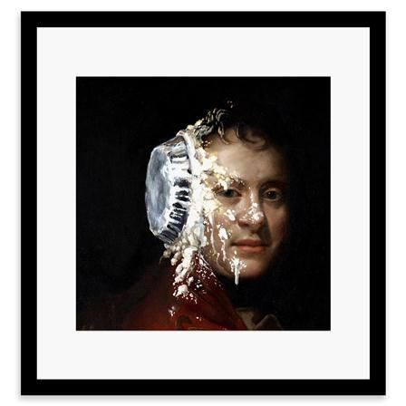 BANKSY - Custard Pie Face, Framed Print, 30x30cm