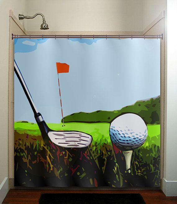 Golfer Ball Golfing Green Putt Club Golf Shower Curtain Bathroom Decor Fabric Kids Bath White Black Custom Duvet Cover Rug Mat Window
