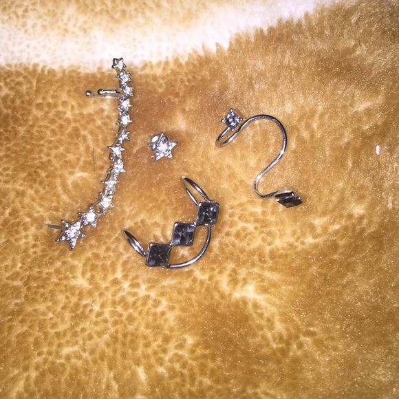Earings Earring for cartilage. No perching needed for the black fake diamond ones. But one piercing on bottom of ear for the white fake diamond earrings. Never been used. Brand new condition.  ⚜ Forever 21 Jewelry Earrings