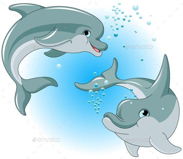 Dolphin Couple Dolphin Painting Cartoon Dolphin Dolphins