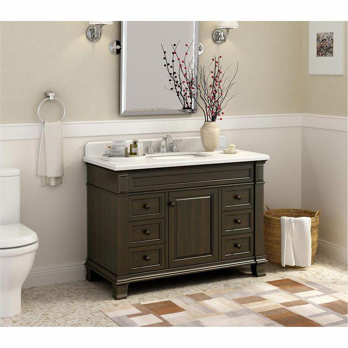 Lanza Kingsley 48 In. Single Bathroom Vanity   The Grayed Out Tones Lent To  The Lanza Kingsley 48 In. Single Bathroom Vanity By A Wire Brushing  Technique ...