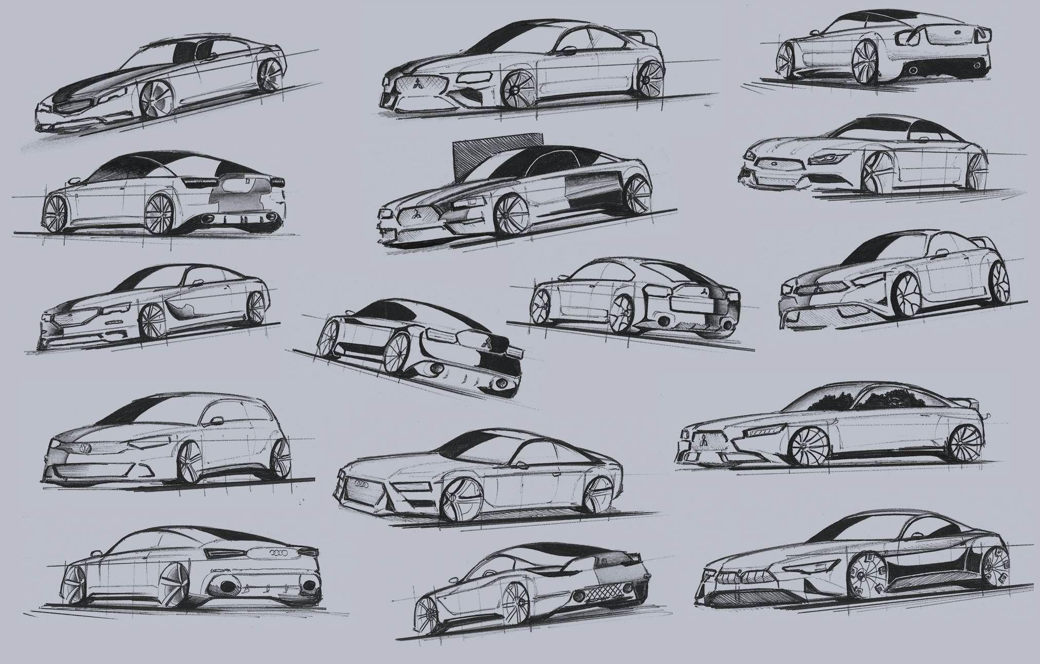 Sketch. Cars. Mitsubishi Lancer. Audi. BMW. Golf. Ford. Peugeot. Design 2016. Various cars. Car design