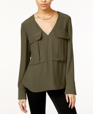 1441c0b7036 RACHEL Rachel Roy V-Neck Long-Sleeve Blouse - Tops - Women - Macy s ...