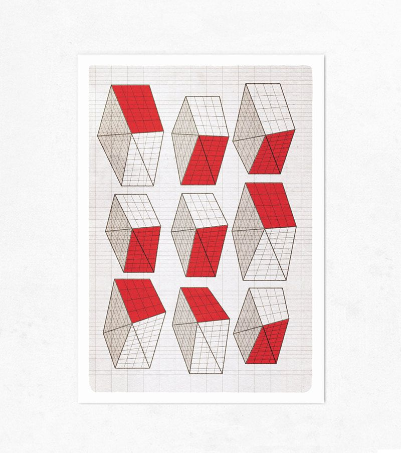 Geometric Neighborhood, red. Extra Large illustration print 16.50 x 23.4 (A2). Big Poster.. €9.00, via Etsy.