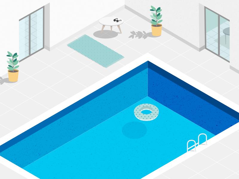 Illustration Swimming Pool Swimming Pools Isometric Art Illustration