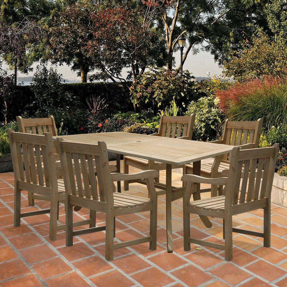 Renaissance Outdoor Hardwood Dining Table 7 Piece Set - Hand-scraped Rectangle - Free Shipping! | Organize.com