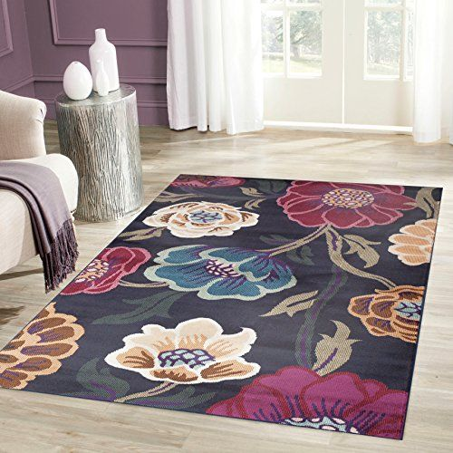 Modern Transitional Leaves Navy Area Rug 3 3 X 5 Rugshop Http