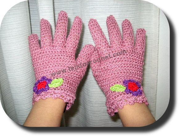 Guantes niña en tejido crochet