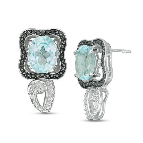 Zales Oval Blue Topaz and Diamond Accent Bead Frame Interlocking Circles Drop Earrings in Sterling Silver GYjTFBQYcw