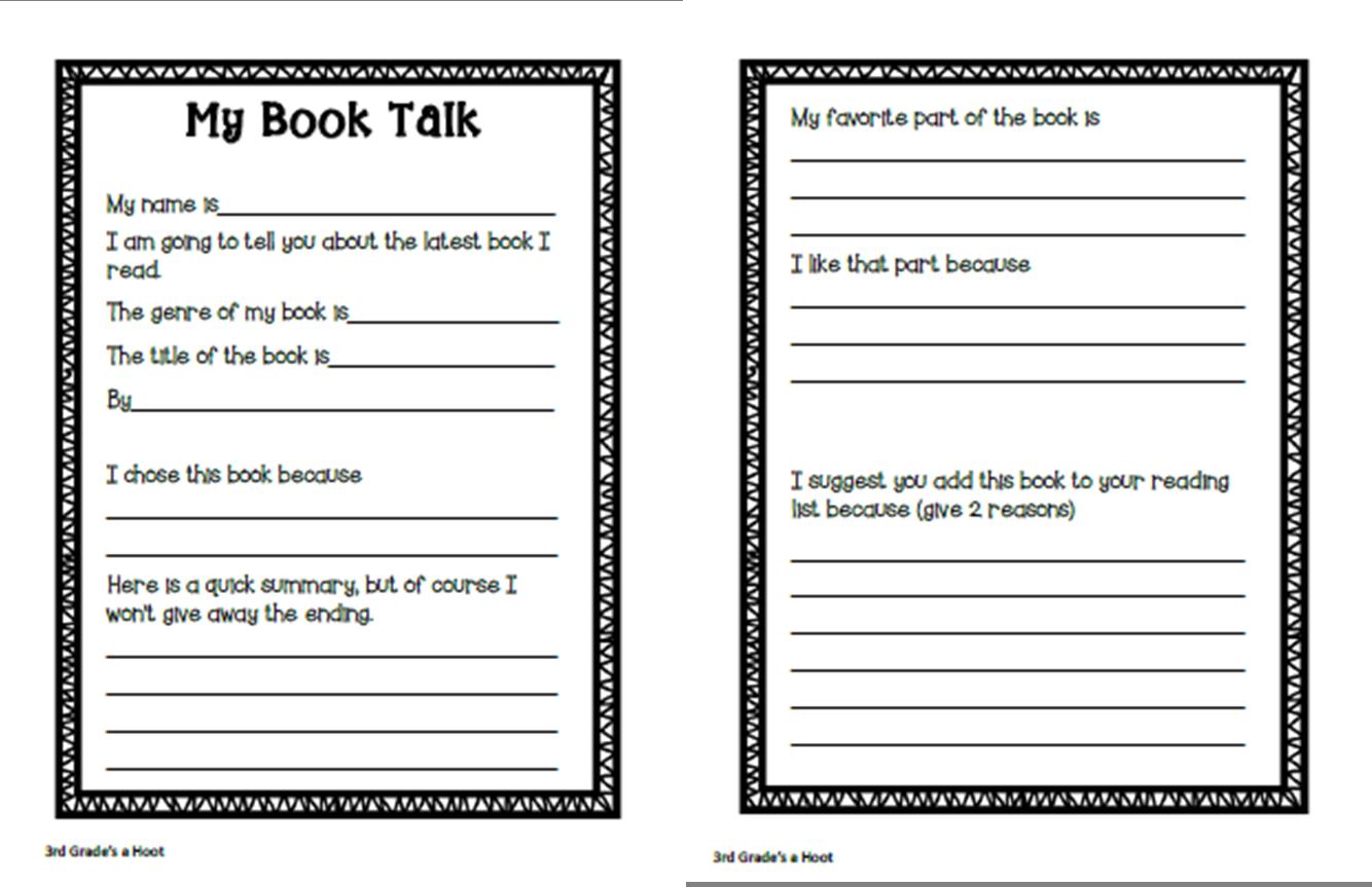 3rd Grade S A Hoot Book Talk 3rd Grade Reading Reading Response Sheets [ 863 x 1334 Pixel ]