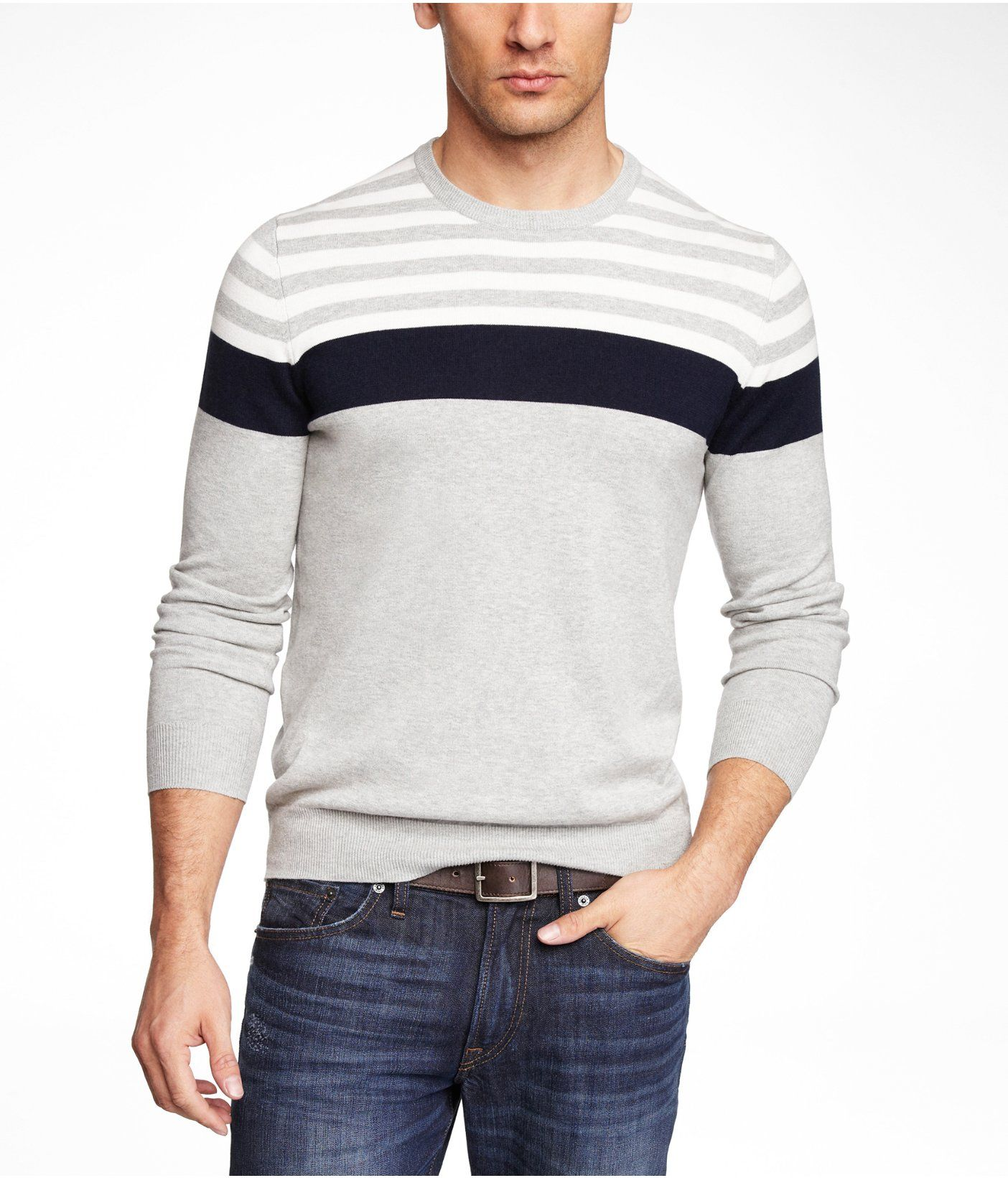 PLACED STRIPE COTTON CREW NECK SWEATER | Express