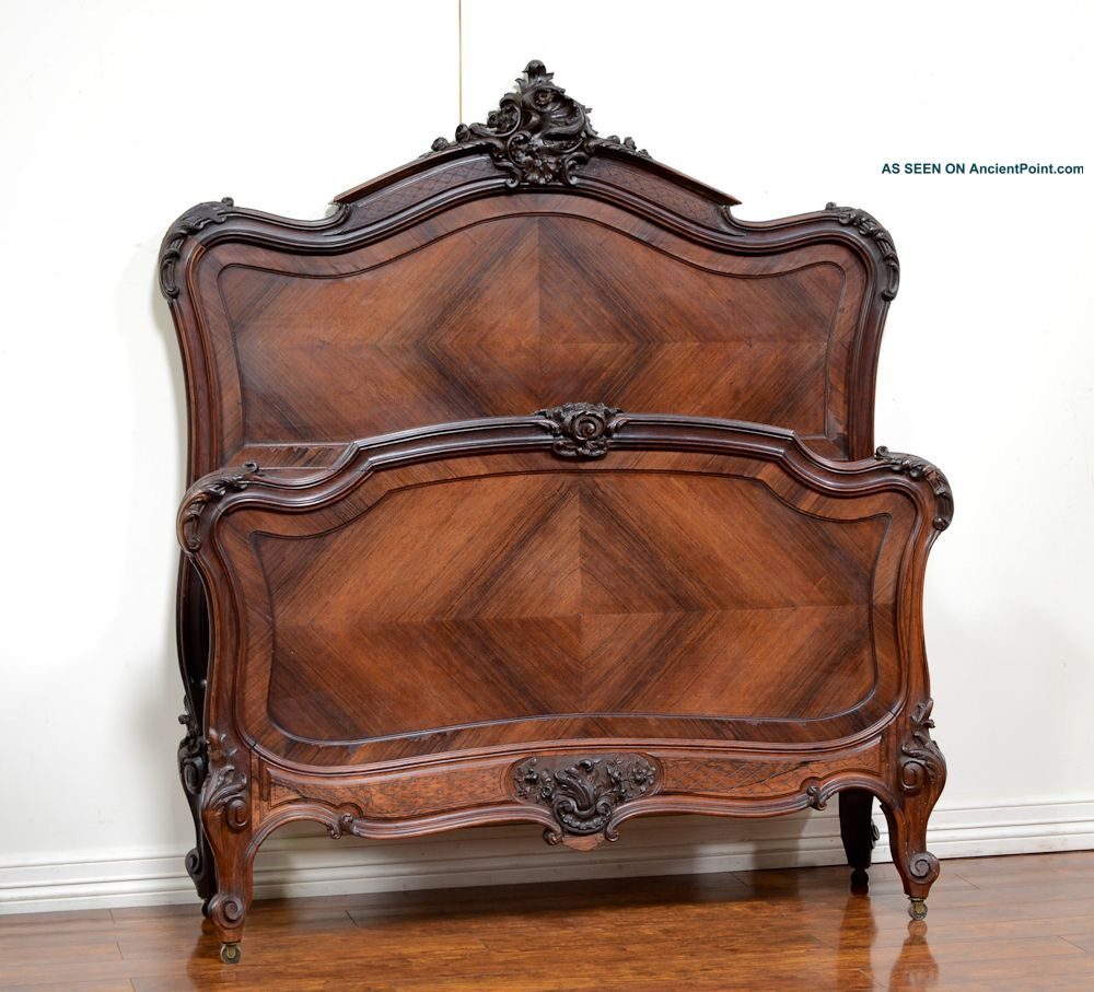 55613 2 Antique French Rosewood Louis Xv Style Bed