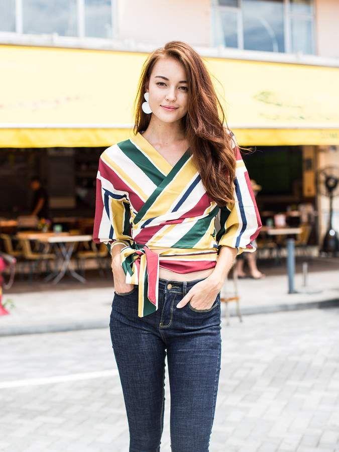 0544901e056a1 Goodnight Macaroon  Alvera  Striped Side-tied Wrap Shirt
