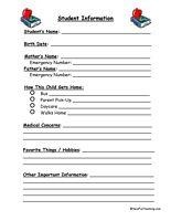 Student information sheets back to school pinterest parent student information sheets free student information sheets student information sheet information sheets for students parent teacher forms maxwellsz