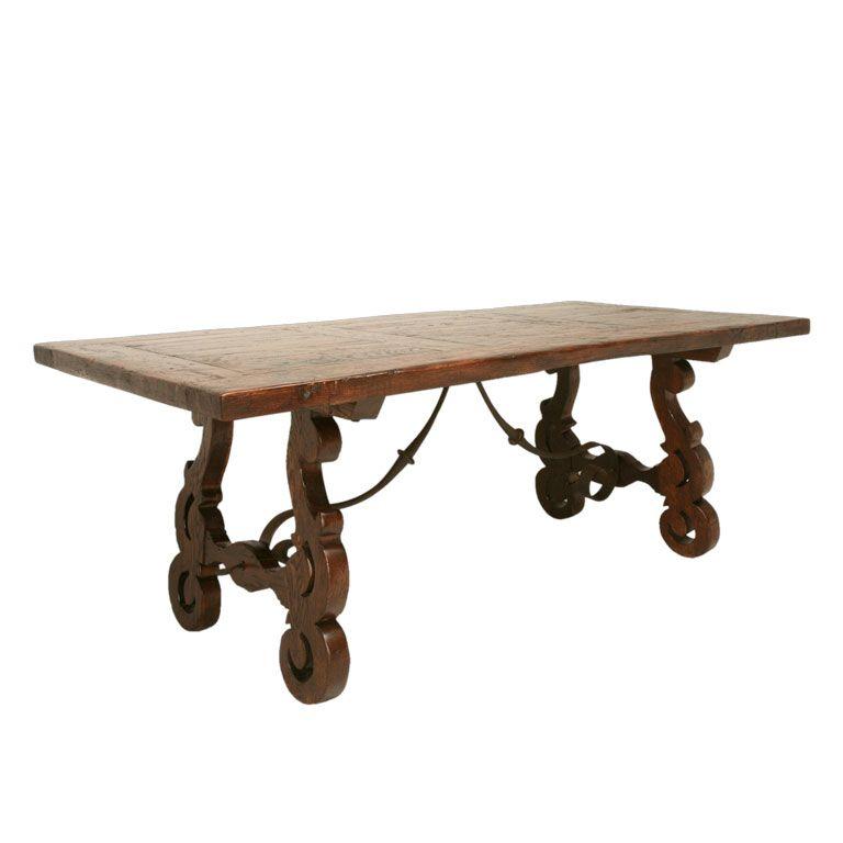 C1890 Handcarved Spanish Oak Lyreleg Dining Table  Hand Carved Fascinating Spanish Dining Room Table Design Inspiration