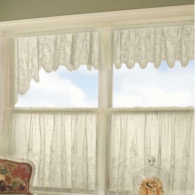 Astoria Grand 68 Window Valance Wayfair In 2020 Cafe Curtains Curtains White Lace Curtains